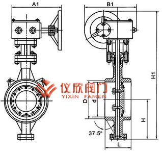 电动对焊蝶阀结构图