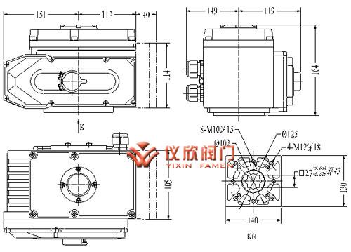 """yxx""系列电动执行器用于控制90°~270°旋转的阀门"