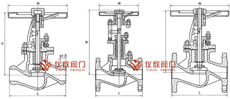 六,国标波纹管截止阀  规格尺寸表图片