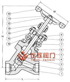y型锻钢截止阀结构图