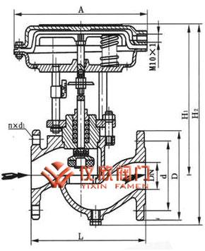 气动活塞式单座切断阀结构图